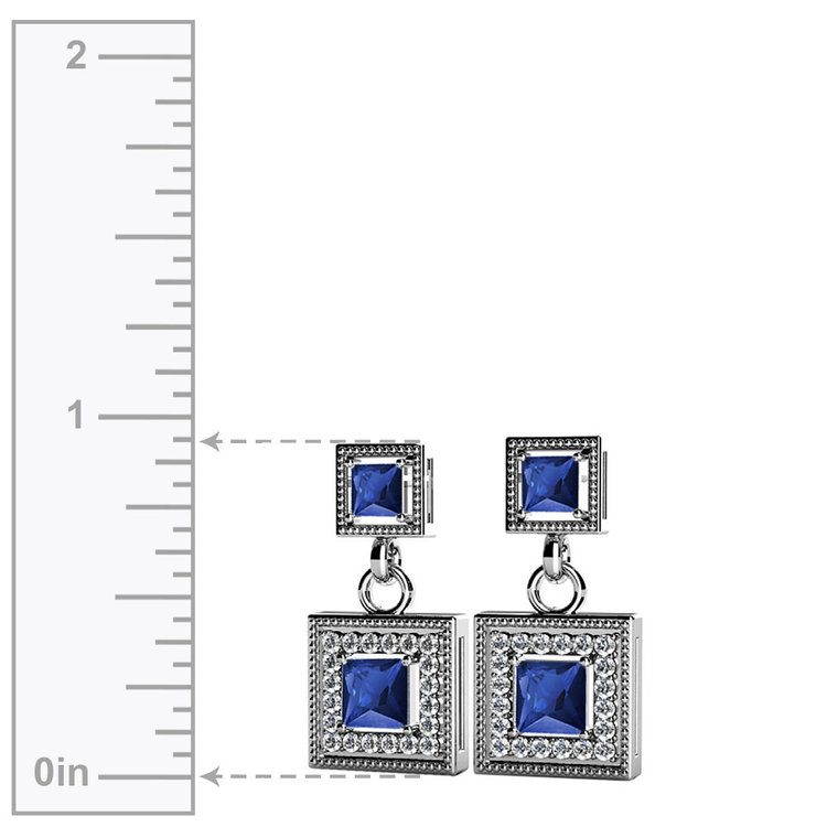 Milgrain Halo Sapphire Earrings in White Gold | 02