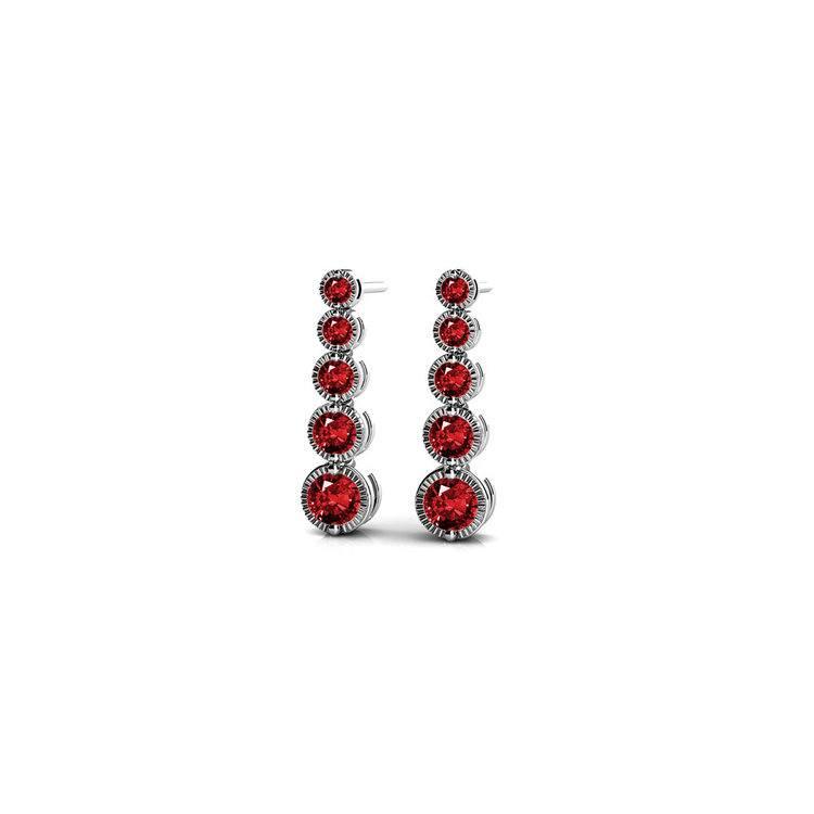Milgrain Ruby Drop Earrings in White Gold | 01