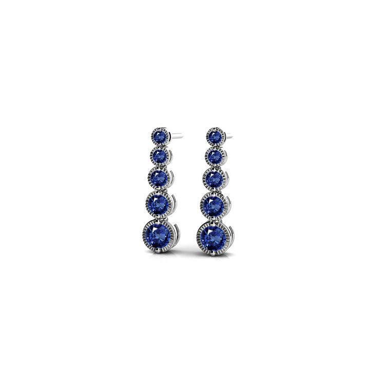 Milgrain Sapphire Drop Earrings in White Gold | 01