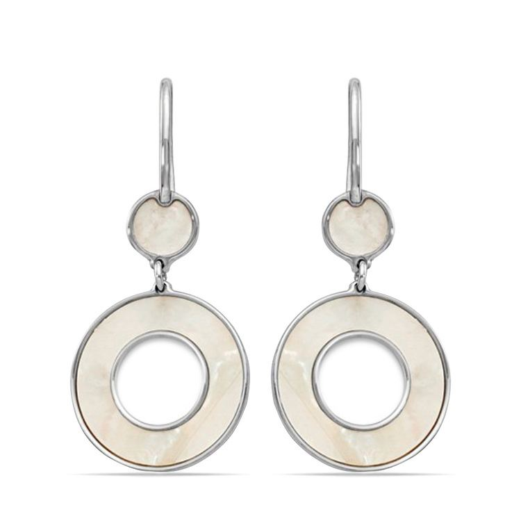 Mother of Pearl Inlay Dangle Earrings in Silver | 01