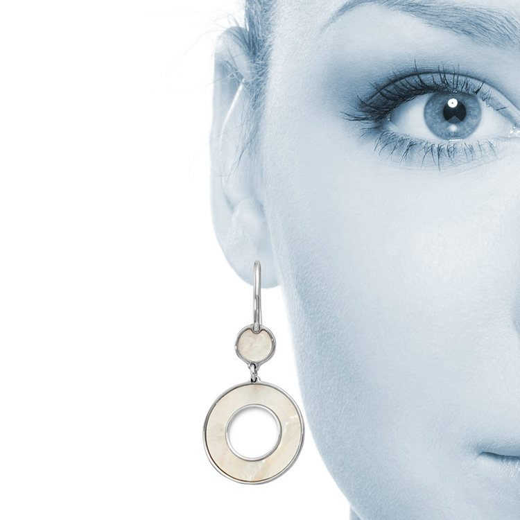Mother of Pearl Inlay Dangle Earrings in Silver | 04