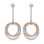 Multi-Hoop White and Rose Tone Dangle Earrings in Silver | Thumbnail 01
