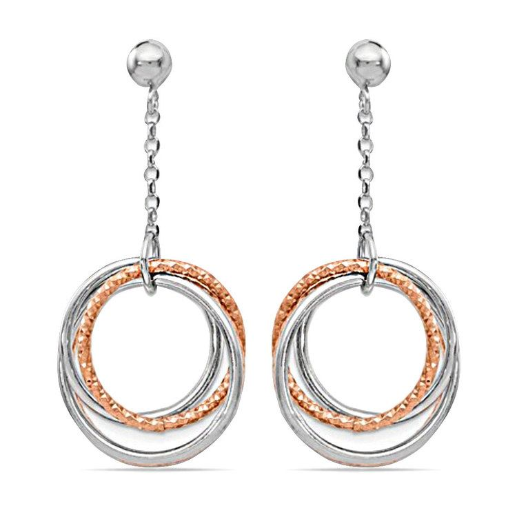 Multi-Hoop White and Rose Tone Dangle Earrings in Silver | 01