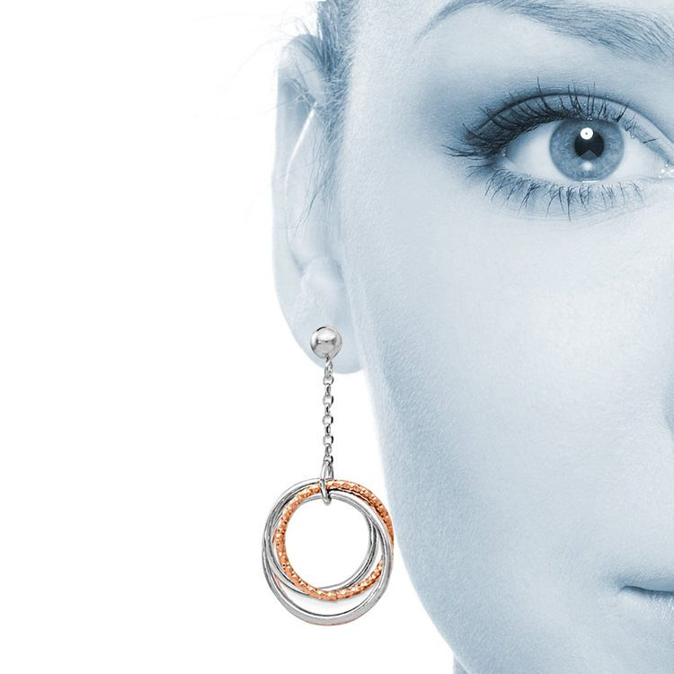 Multi-Hoop White and Rose Tone Dangle Earrings in Silver | 04