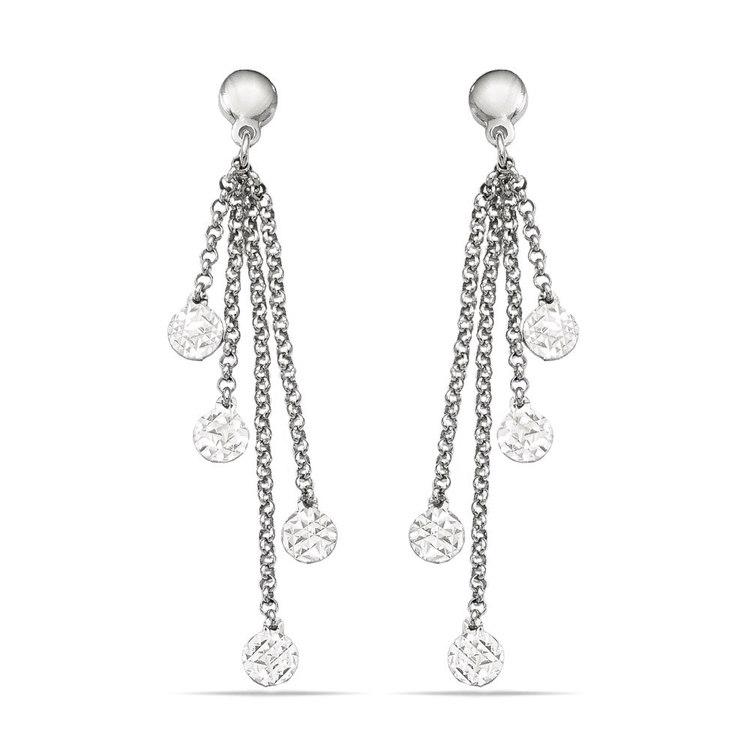 Multi-Link Diamond Cut Dangle Earrings in Silver | 01