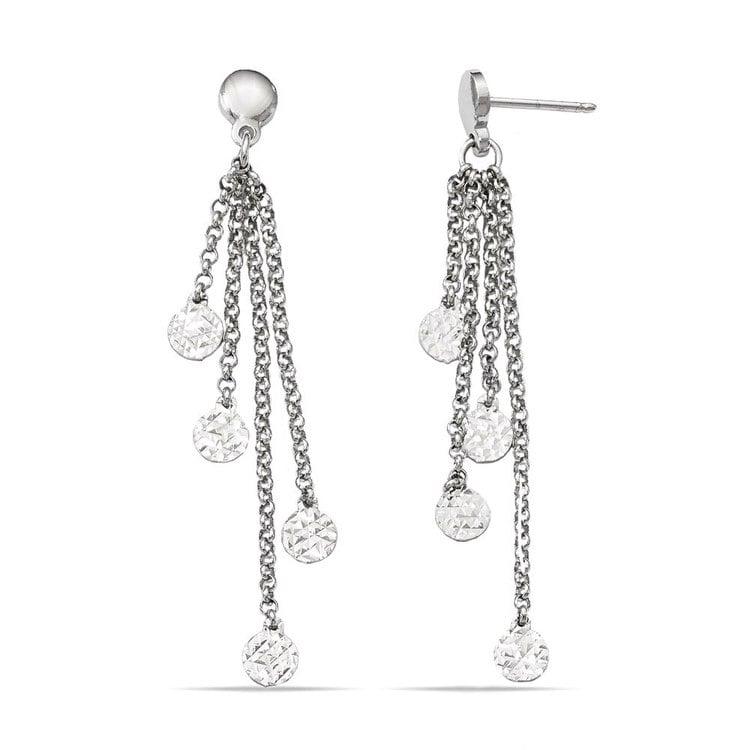 Multi-Link Diamond Cut Dangle Earrings in Silver | 02