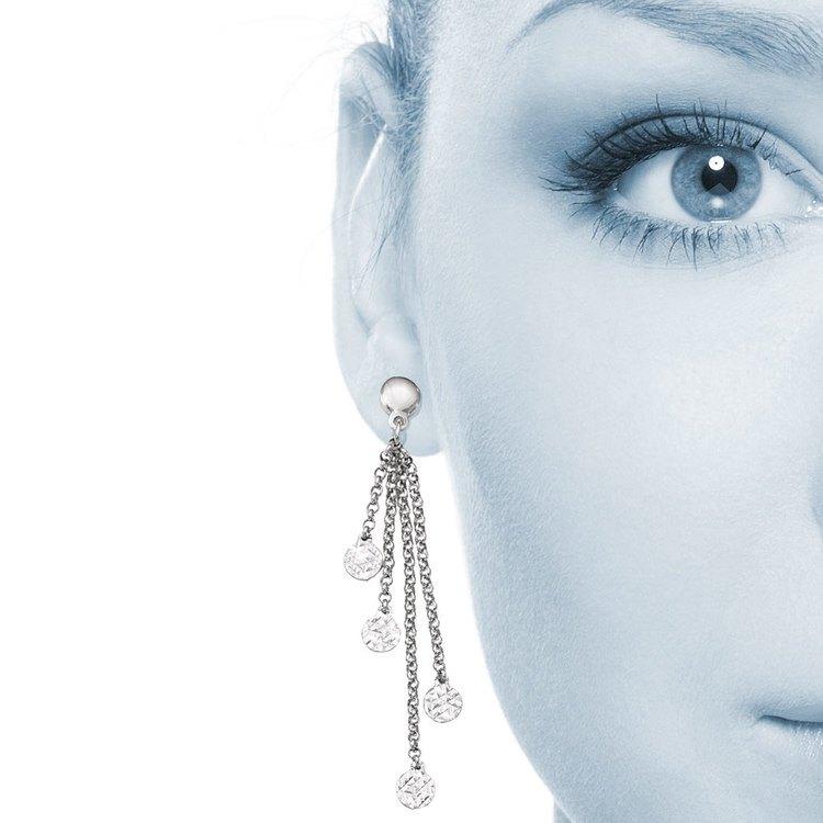 Multi-Link Diamond Cut Dangle Earrings in Silver | 04