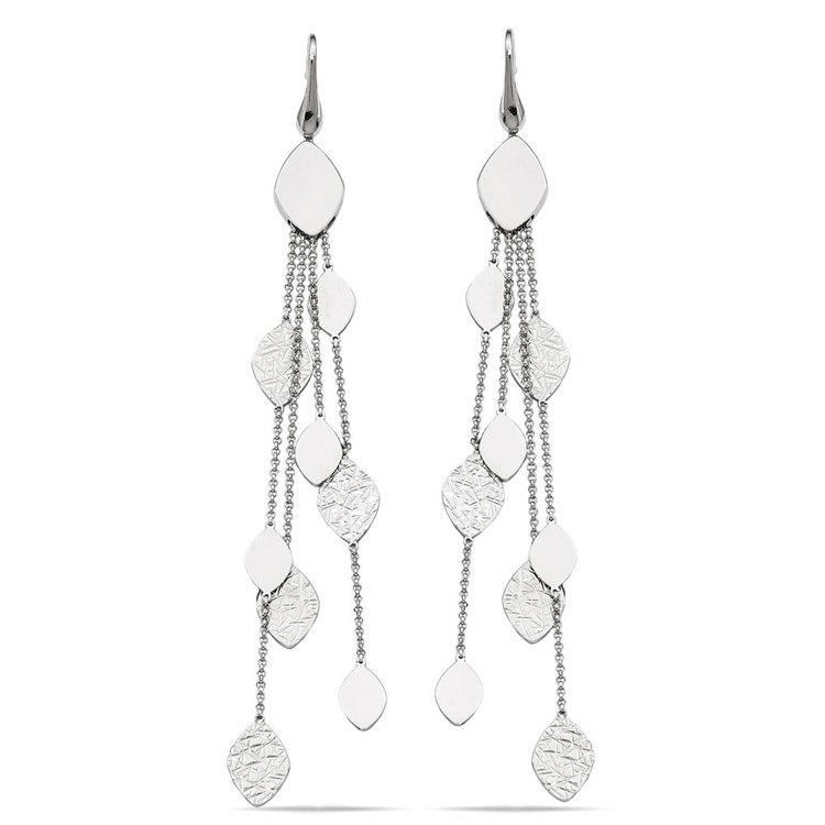 Multi-Link Mixed Finish Dangle Earrings in Silver | 01