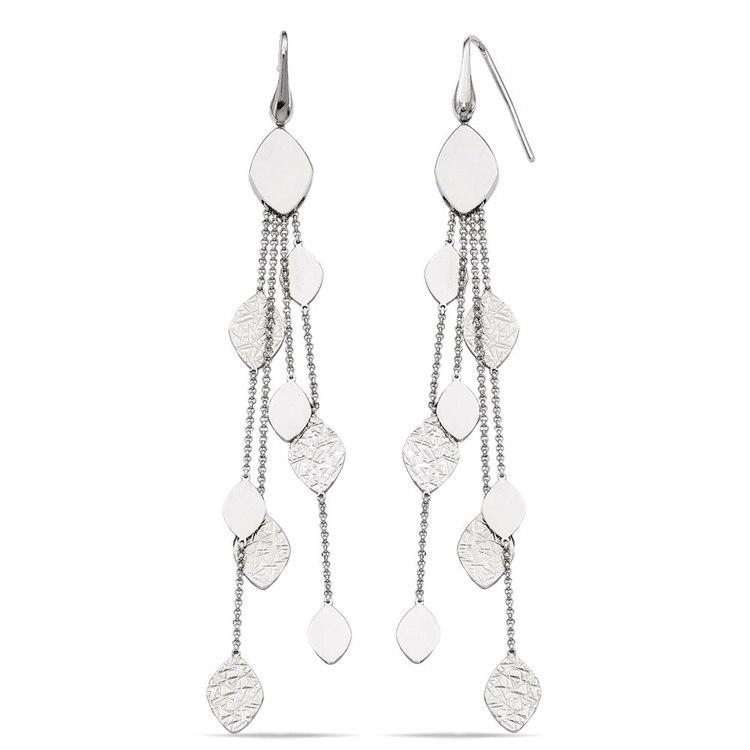 Multi-Link Mixed Finish Dangle Earrings in Silver | 02