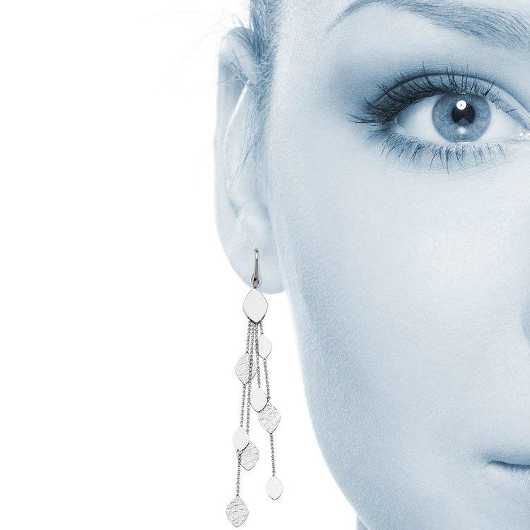 Multi-Link Mixed Finish Dangle Earrings in Silver | 04