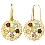 Ornate Gemstone Dangle Earrings with Yellow Finish in Silver | Thumbnail 01