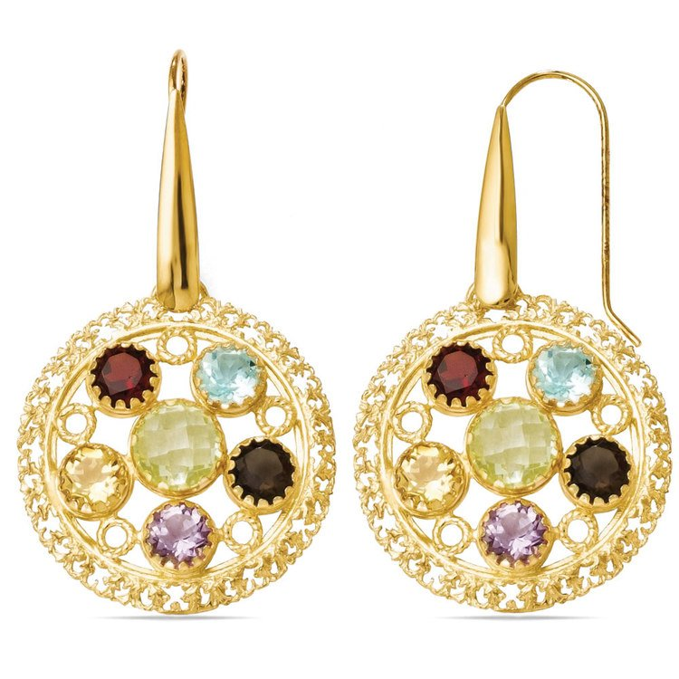 Ornate Gemstone Dangle Earrings with Yellow Finish in Silver | 02