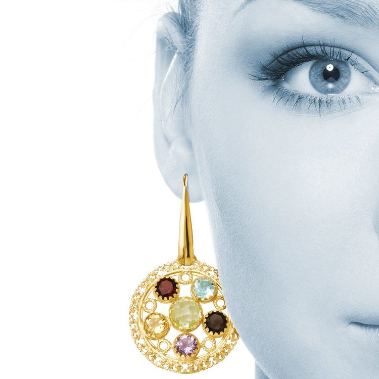 Ornate Gemstone Dangle Earrings with Yellow Finish in Silver | 04