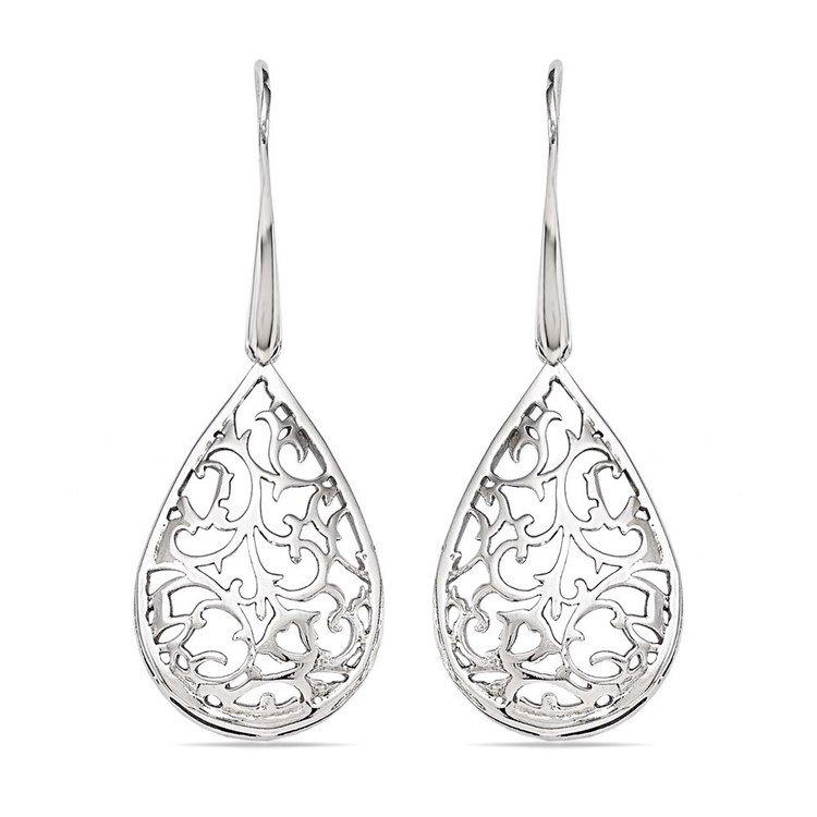 Paisley Filigree Teardrop Dangle Earrings in Silver | 01
