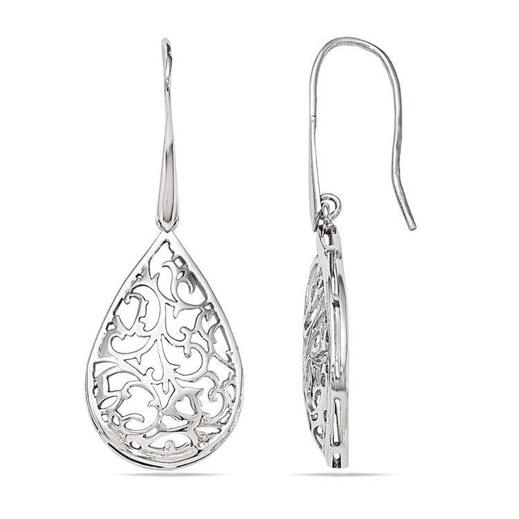 Paisley Filigree Teardrop Dangle Earrings in Silver | 02