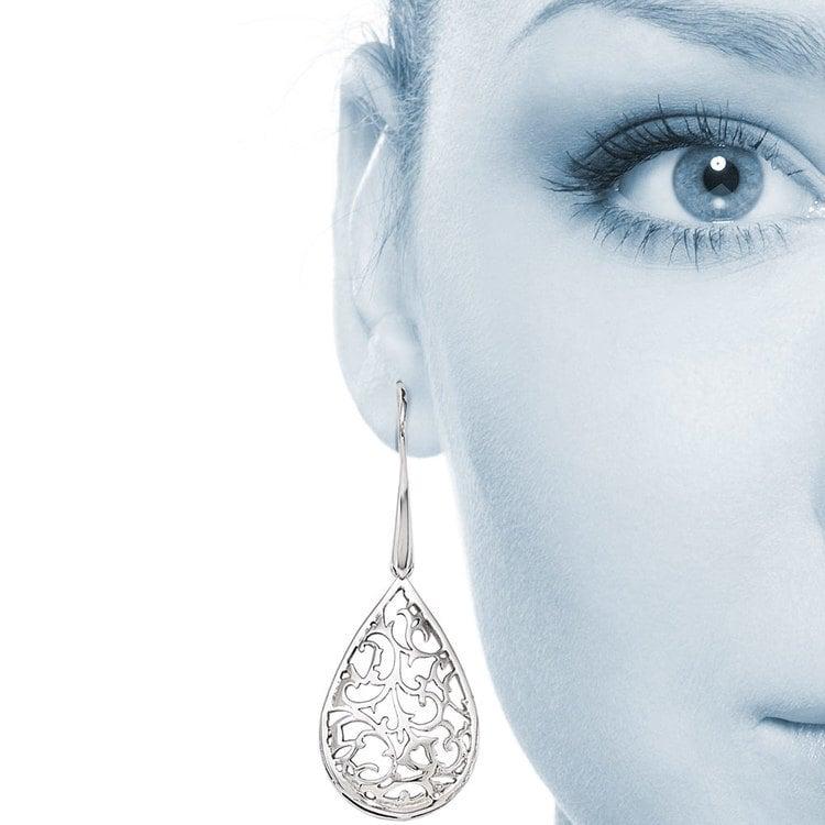 Paisley Filigree Teardrop Dangle Earrings in Silver | 04