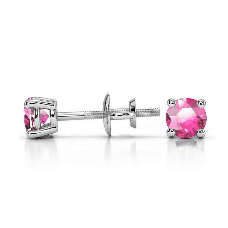 Pink Sapphire Round Gemstone Stud Earrings in White Gold (3.4 mm) | 03
