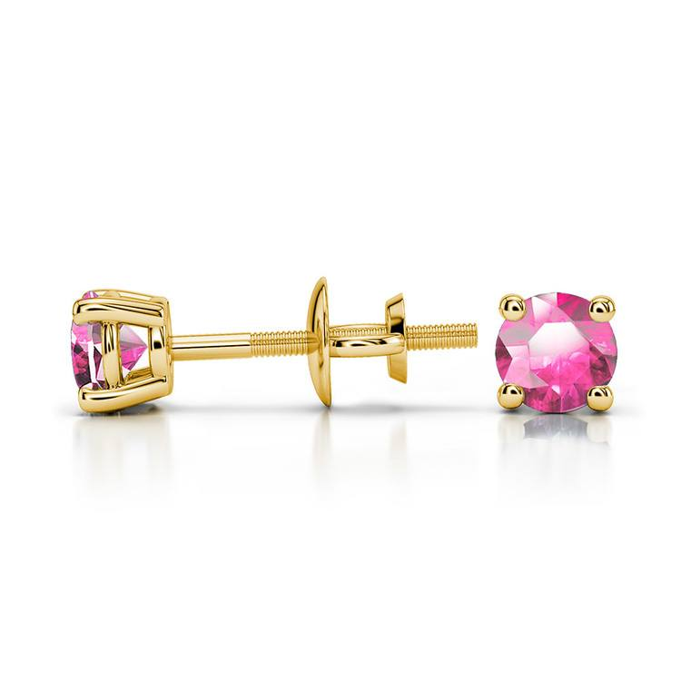Pink Sapphire Round Gemstone Stud Earrings in Yellow Gold (3.4 mm) | 03