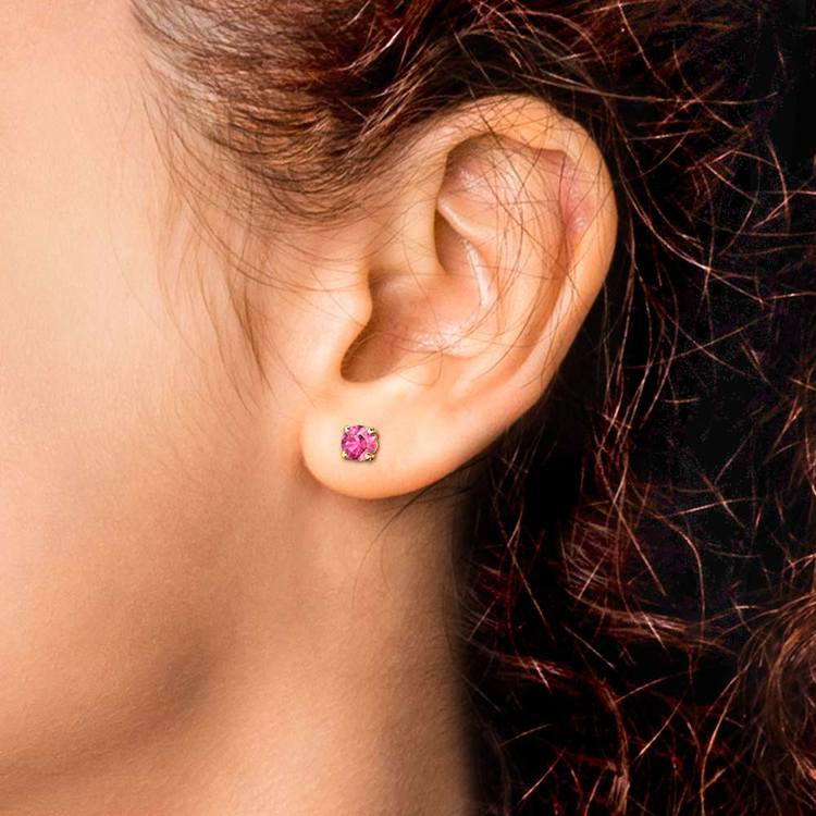 Pink Sapphire Round Gemstone Stud Earrings in Yellow Gold (3.4 mm) | 04