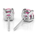 Pink Sapphire Round Gemstone Stud Earrings in Platinum (4.1 mm)   Thumbnail 01