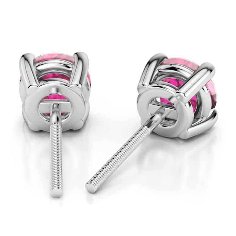 Pink Sapphire Round Gemstone Stud Earrings in Platinum (4.1 mm)   02