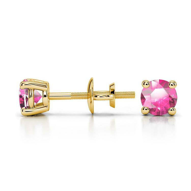 Pink Sapphire Round Gemstone Stud Earrings in Yellow Gold (4.1 mm) | 03