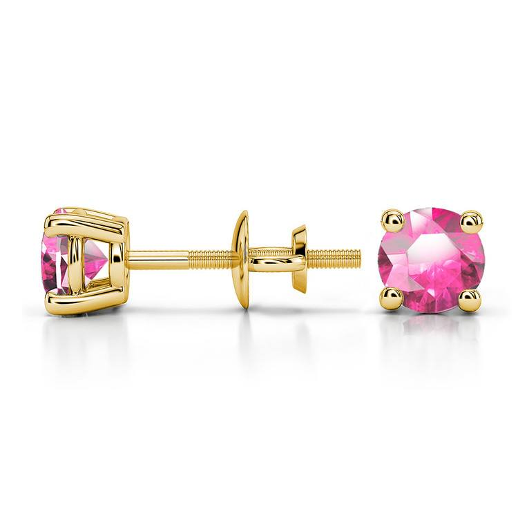 Pink Sapphire Round Gemstone Stud Earrings in Yellow Gold (4.5 mm) | 03