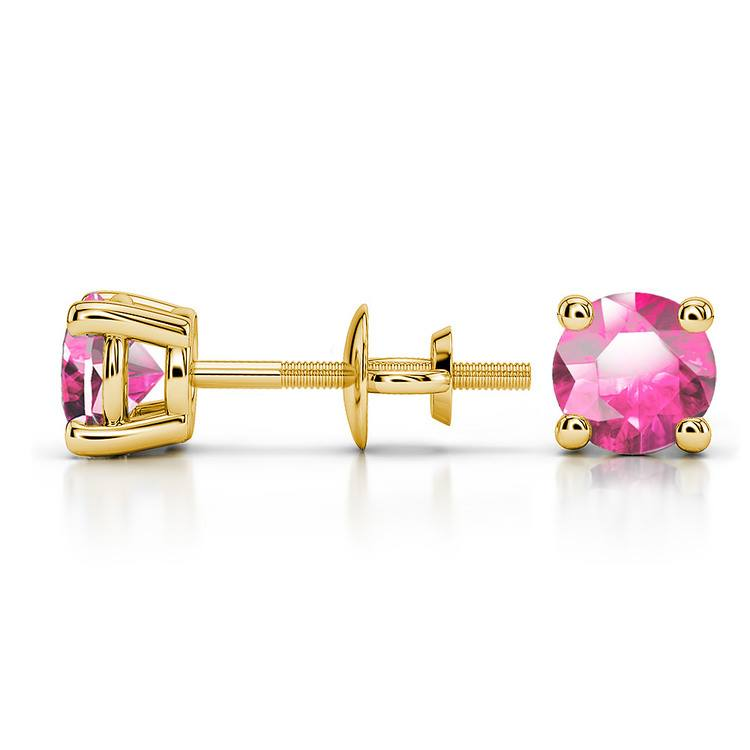 Pink Sapphire Round Gemstone Stud Earrings in Yellow Gold (5.1 mm) | 03