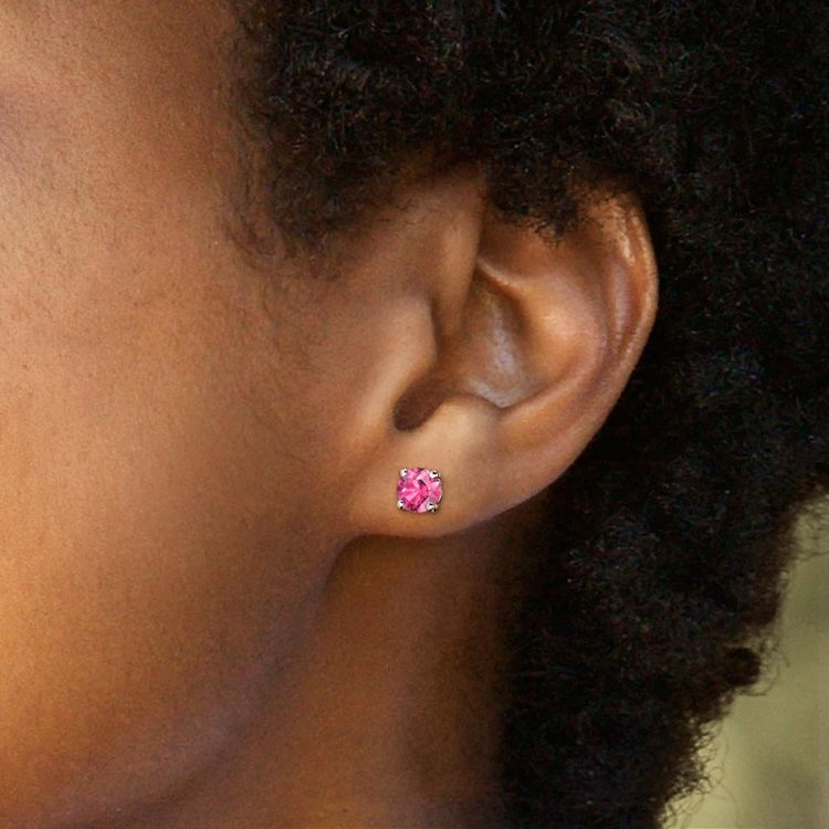 Pink Sapphire Round Gemstone Stud Earrings in White Gold (5.9 mm) | 04