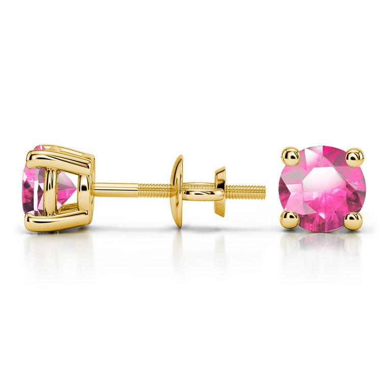 Pink Sapphire Round Gemstone Stud Earrings in Yellow Gold (5.9 mm) | 03