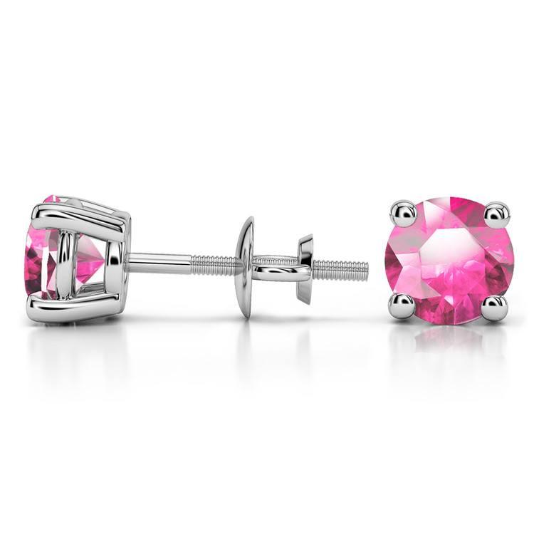 Pink Sapphire Round Gemstone Stud Earrings in Platinum (6.4 mm) | 03