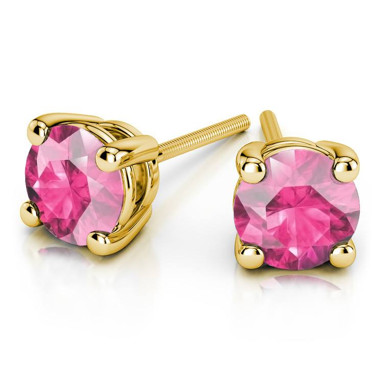 Pink Sapphire Round Gemstone Stud Earrings in Yellow Gold (6.4 mm) | 01