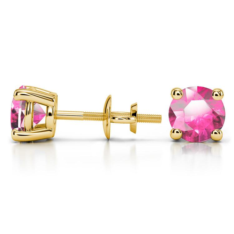 Pink Sapphire Round Gemstone Stud Earrings in Yellow Gold (6.4 mm) | 03