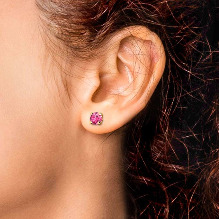 Pink Sapphire Round Gemstone Stud Earrings in Yellow Gold (6.4 mm) | 04