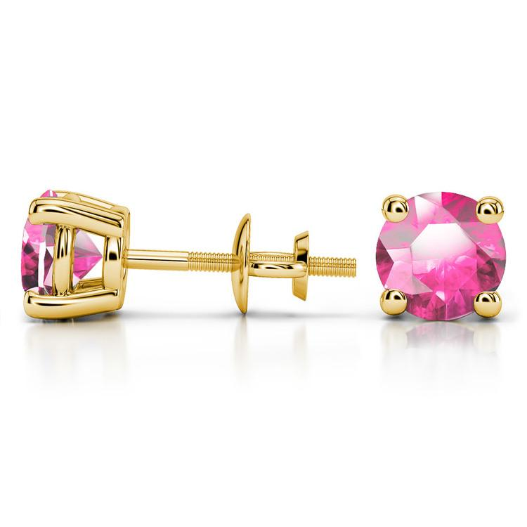 Pink Sapphire Round Gemstone Stud Earrings in Yellow Gold (7.5 mm) | 03