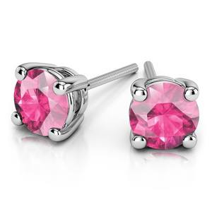 Pink Sapphire Round Gemstone Stud Earrings in White Gold (8.1 mm)