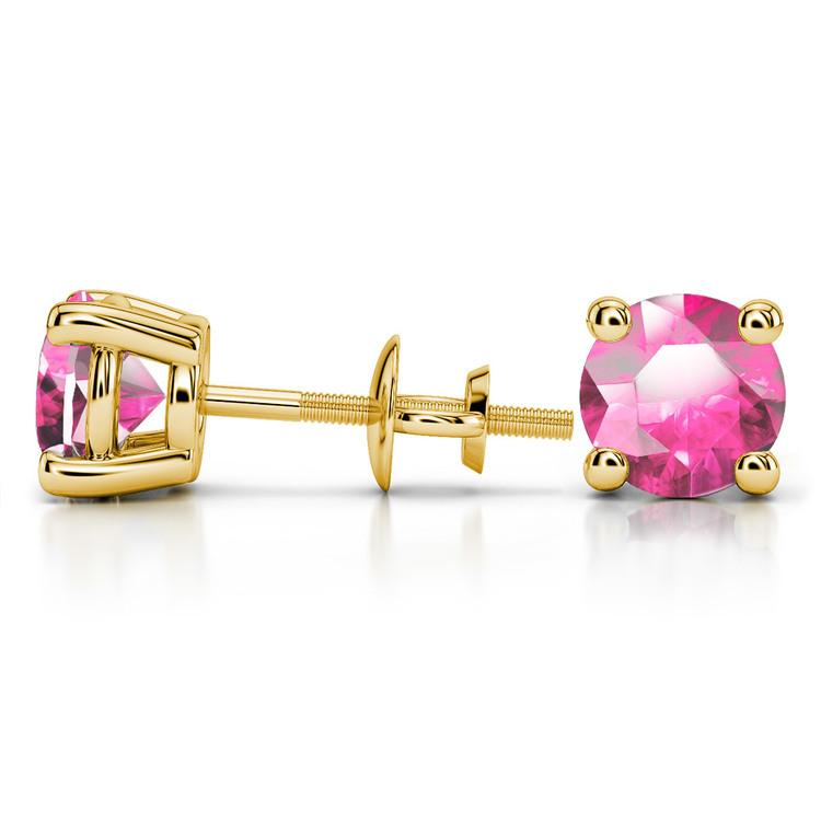 Pink Sapphire Round Gemstone Stud Earrings in Yellow Gold (8.1 mm) | 03