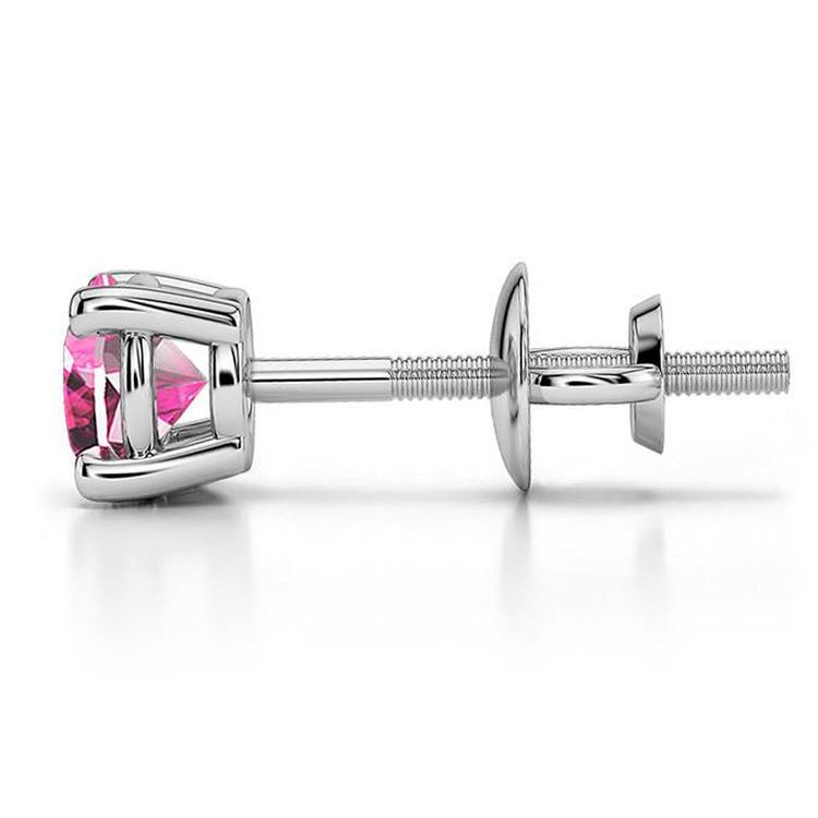 Pink Sapphire Single Stud Earring In White Gold (5.1mm) | 03