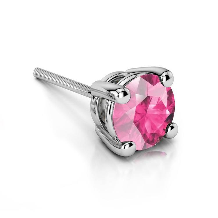Pink Sapphire Round Single Stud Earring In White Gold (6.4mm) | 01