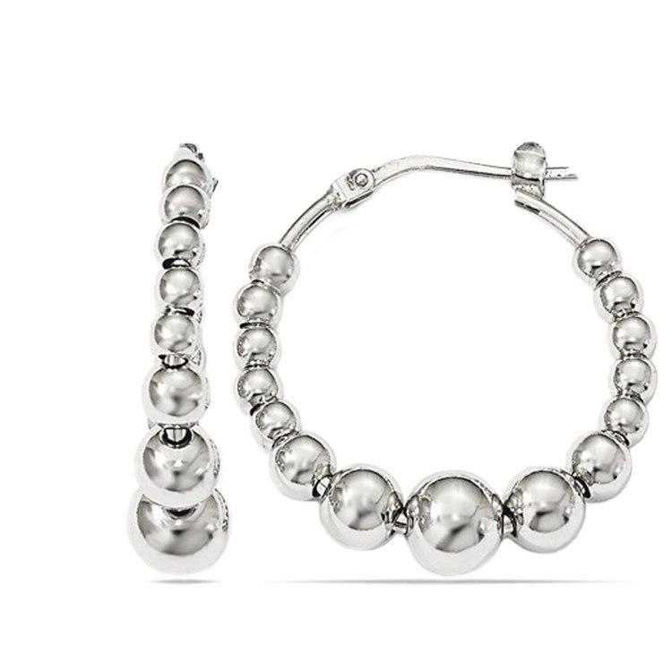 Polished Bead Hoop Earrings in Silver | 01