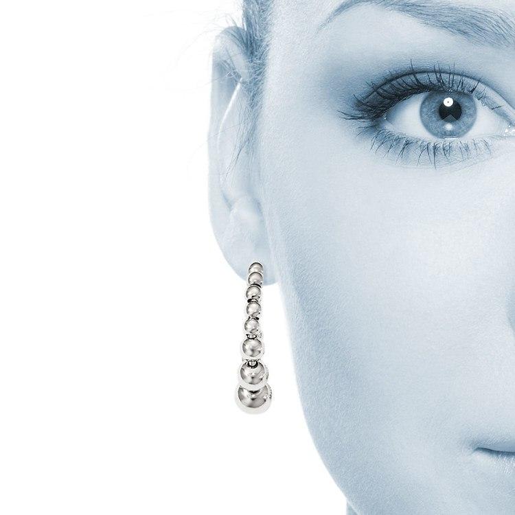 Polished Bead Hoop Earrings in Silver | 04