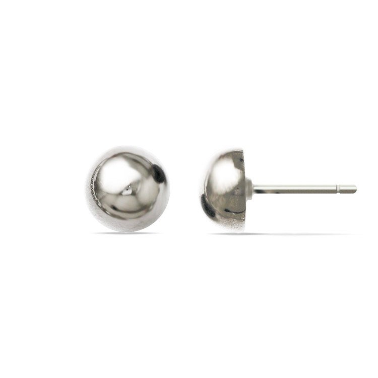 Polished Button Stud Earrings in Silver (8.75 mm) | 02