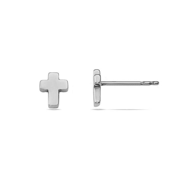 Polished Cross Stud Earrings in White Gold | 02