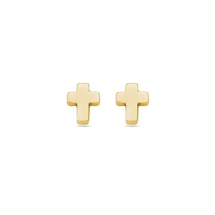 Polished Cross Stud Earrings in Yellow Gold | Zoom