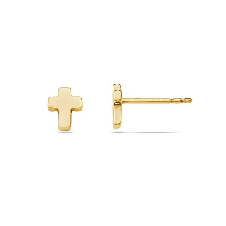 Polished Cross Stud Earrings in Yellow Gold | 02
