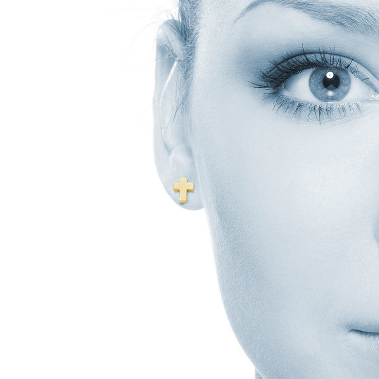 Polished Cross Stud Earrings in Yellow Gold | 04