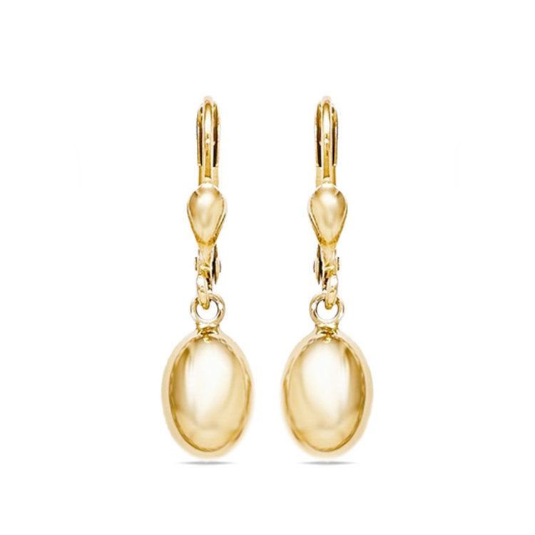 Polished Drop Leverback Dangle Earrings in Yellow Gold | 01