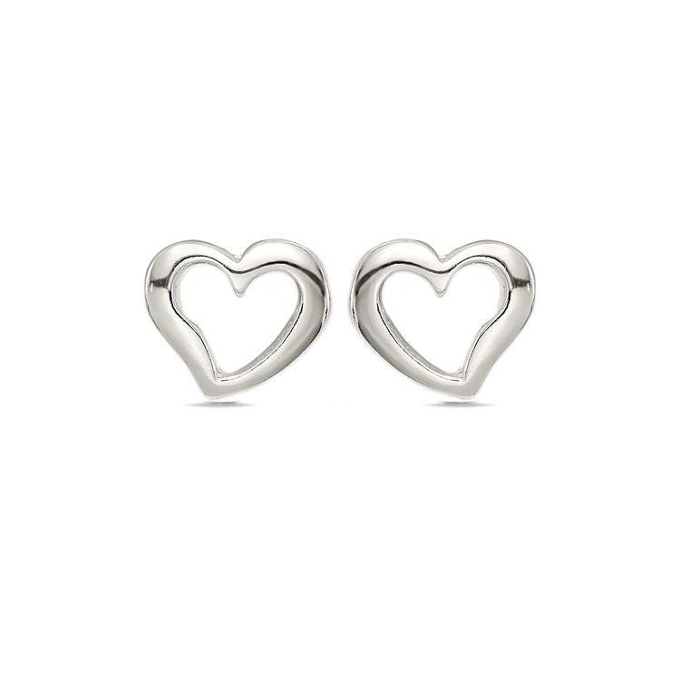 Polished Heart Earrings in Sterling Silver | 01