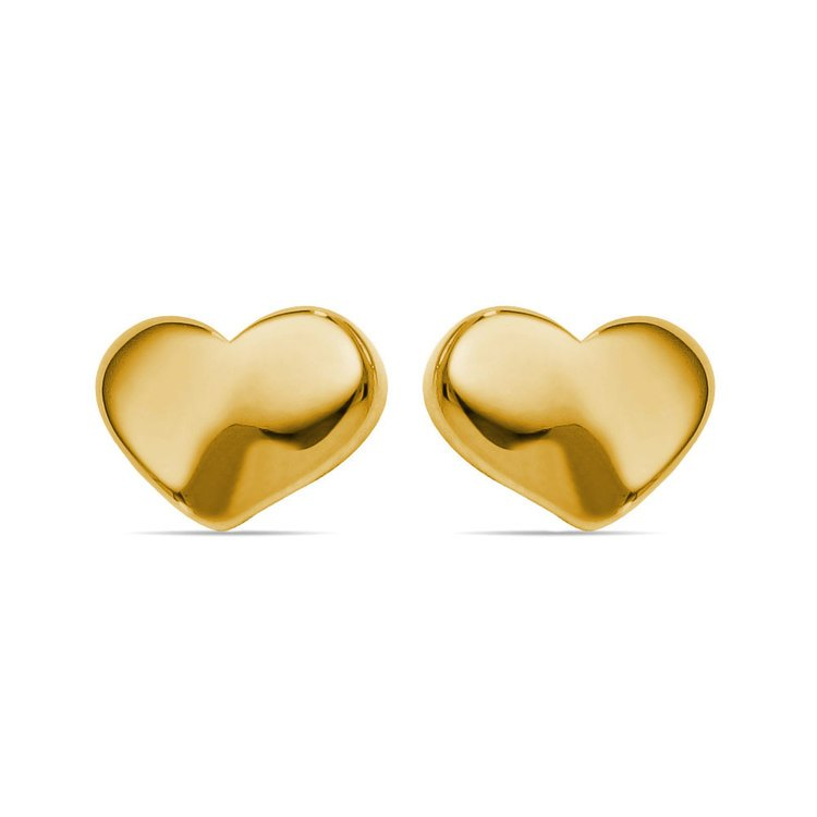 Polished Heart Stud Earrings in Yellow Gold | 01