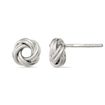 Polished Love Knot Earrings in Silver | Thumbnail 01